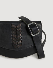 Front shot of Laced Up Leather Belt Bag in Black