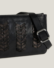 Side shot of Laced Up Zip Top Top Belt Bag in Black