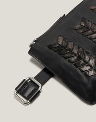 Laced Up Zip Top Top Belt Bag in Black