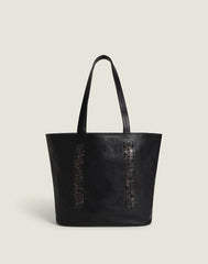 Front shot of Laced Up Leather Tote in Black