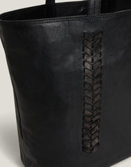 Side shot of Laced Up Leather Tote in Black