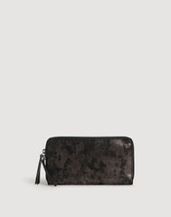 Metallic Clutcher Wallet in Black Metallic