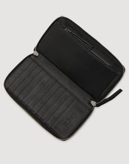 Metallic Clutcher Wallet in Black Metallic opened