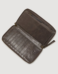 Metallic Clutcher Wallet in Pewter Metallic unzipped