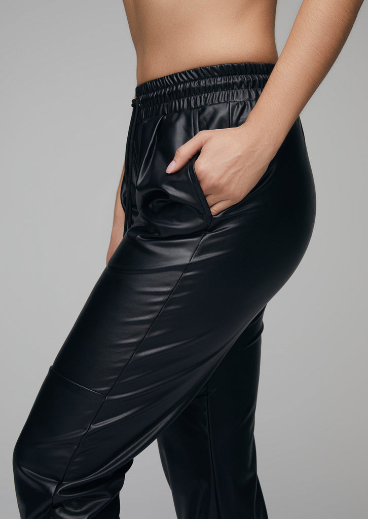 Black Faux Leather Joggers What Waist