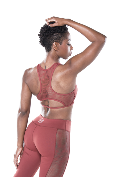 Marsala Mesh Back Sports Bra