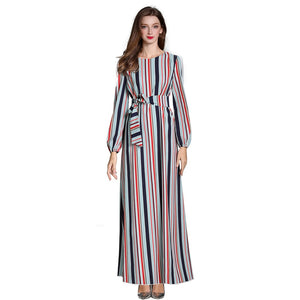Women 2019 Striped Long Sleeve Dress