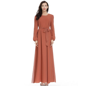 Women Solid color Long Sleeve Chiffon  Dress