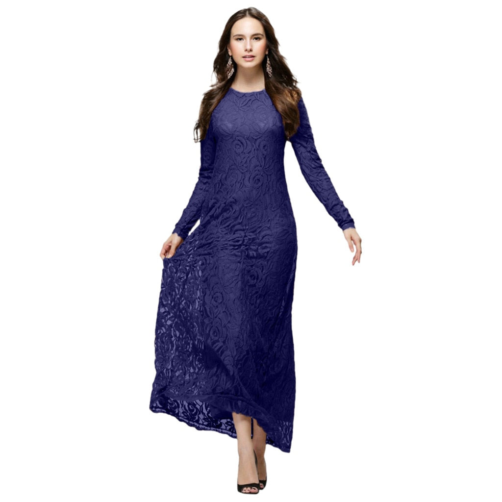Slimming Solid color Double Layer Casual  Lace Dress