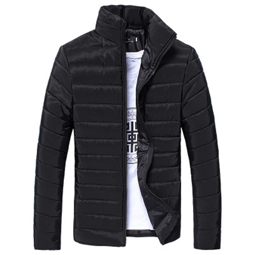 Winter Men Coat Casual Solid Men Stand Coat High Quality Cotton  Zipper Warm Thick Coat