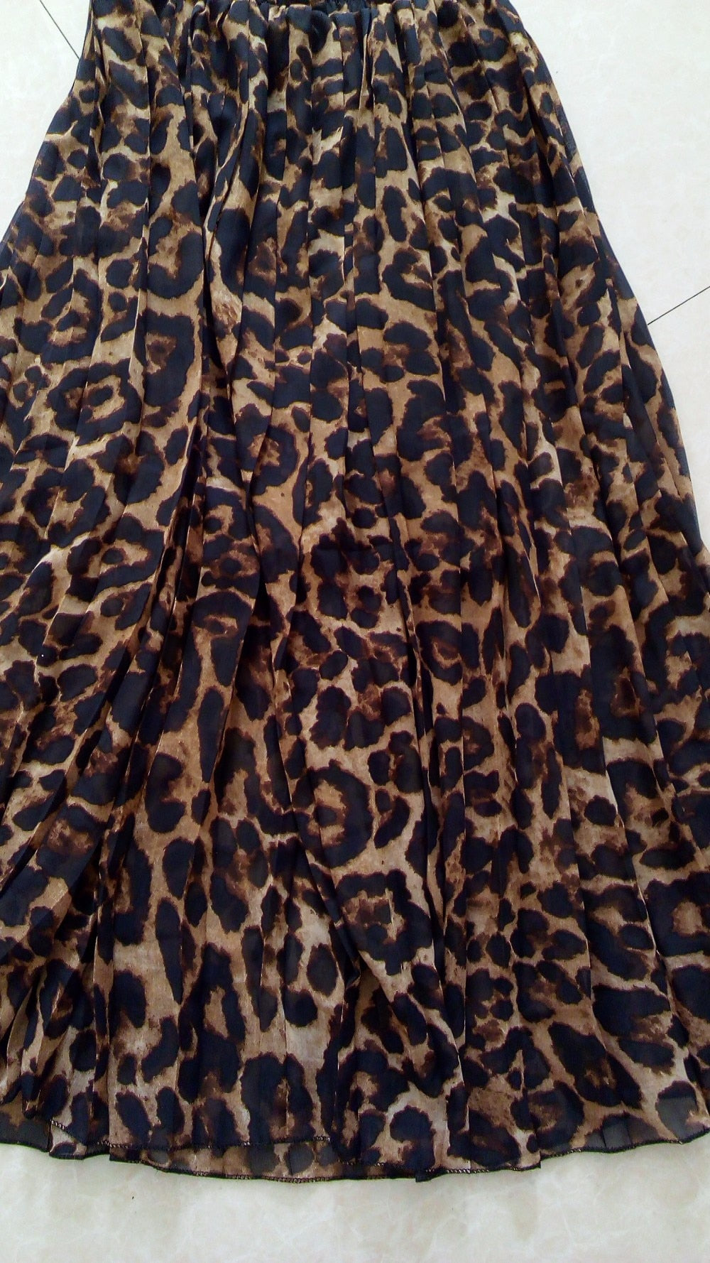 Women's Summer Beach Leopard Casual Chiffon Max Skirt