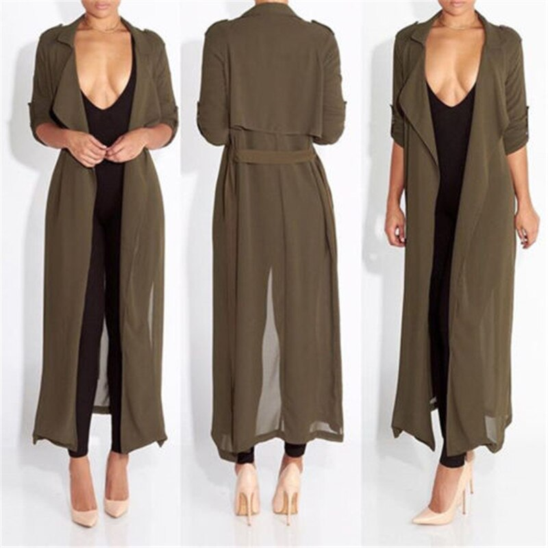 Ladies Slinky Maxi Duster Belted Celeb Waterfall Coat