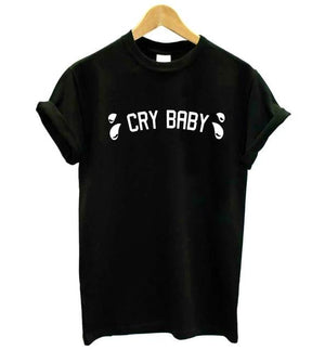 Cry Baby Pink Letters Print Women t shirt Cotton