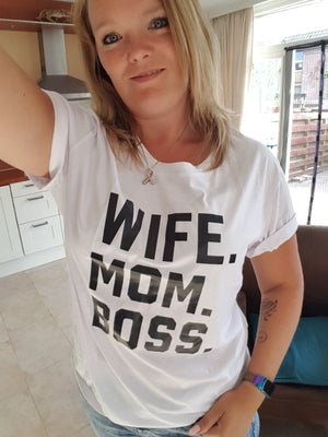 WIFE MOM BOSS Letters Print Women t shirt Cotton