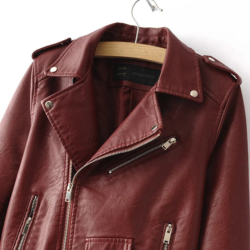 Women Short Faux Soft Leather Jacket