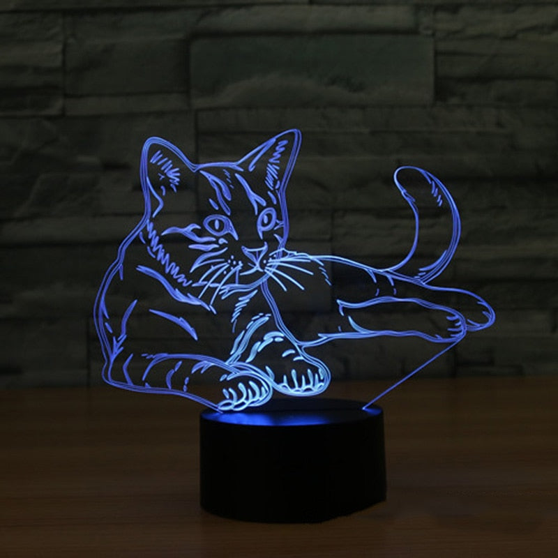 Cat 3D Night Light  LED 7 Colors Table Lamp