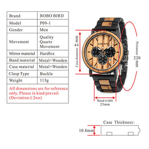 Wood and Stainless Steel Watches Luminous Hands Stop Watch