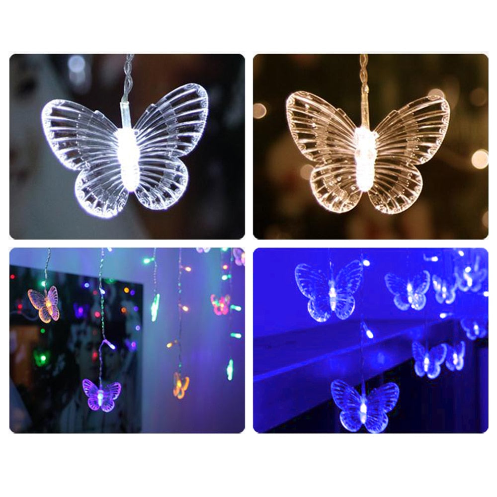 315CM*50CM String Light 48 LED Curtain Lights Butterfly Fairy Decoration Lighting