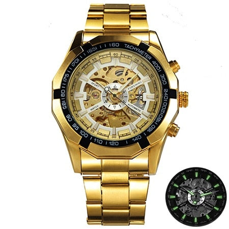 Men Skeleton Automatic Mechanical Watch