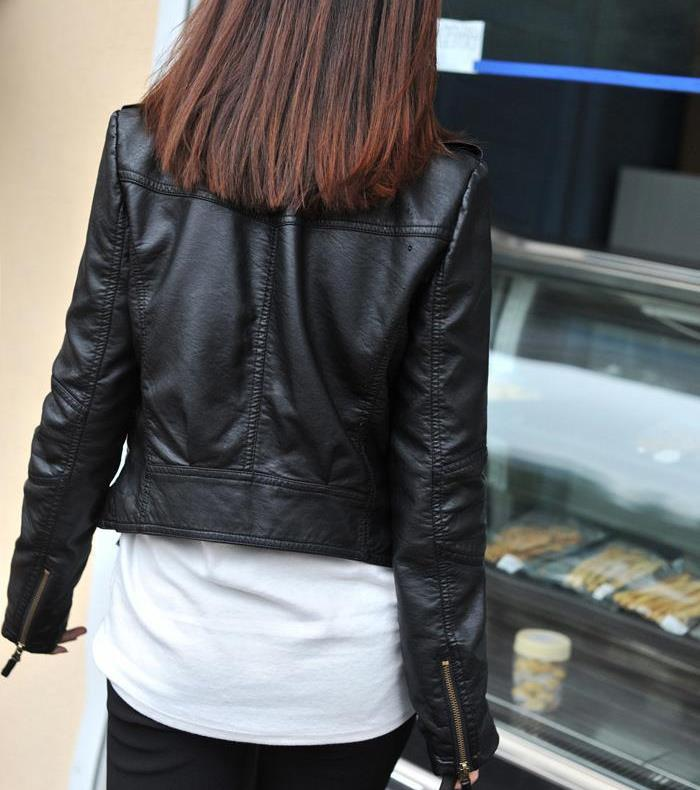 Female Coat Slim Fashion PU Leather Jacket