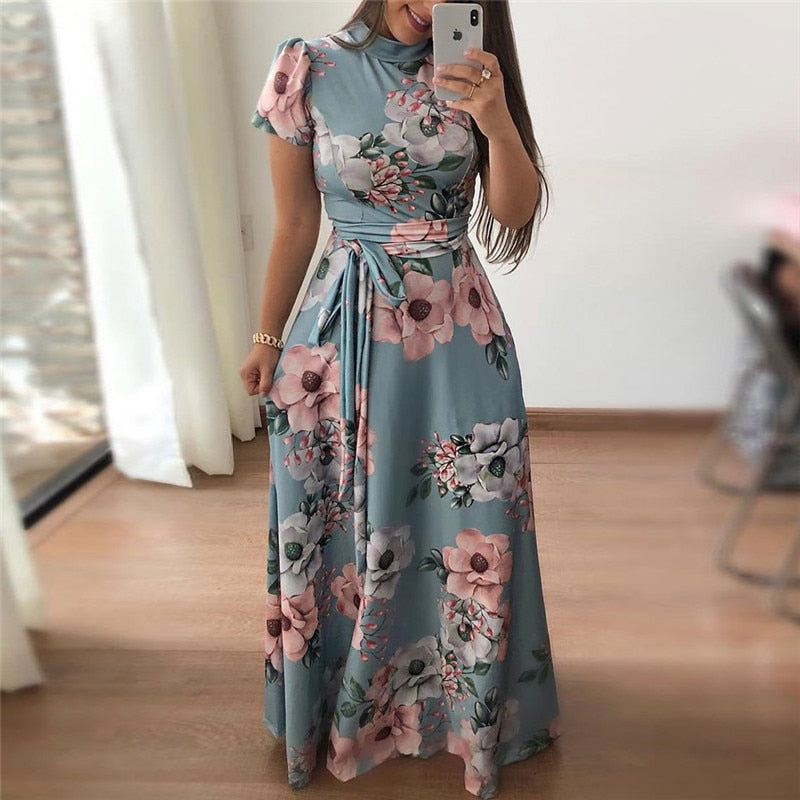 Women Summer Casual Short Sleeve Boho Floral Print Maxi Dress