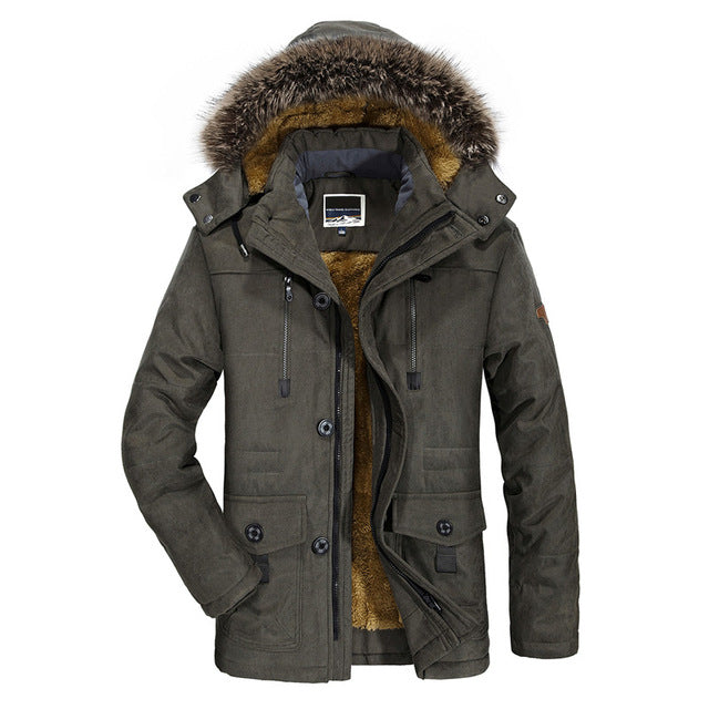 Men Cotton Padded Warm  Winter Windbreaker Casual Faux Fur Hooded Jacket