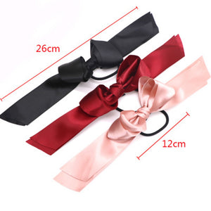 Tiara Satin Ribbon Hair Bow Elastic Hair Band