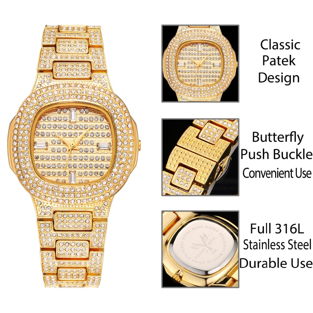 Diamond Stainless steel Wrist Watches For Ladies Gold Fashion