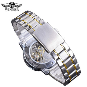 Men's Transparent Fashion Diamond Mechanical Skeleton Wrist Watches