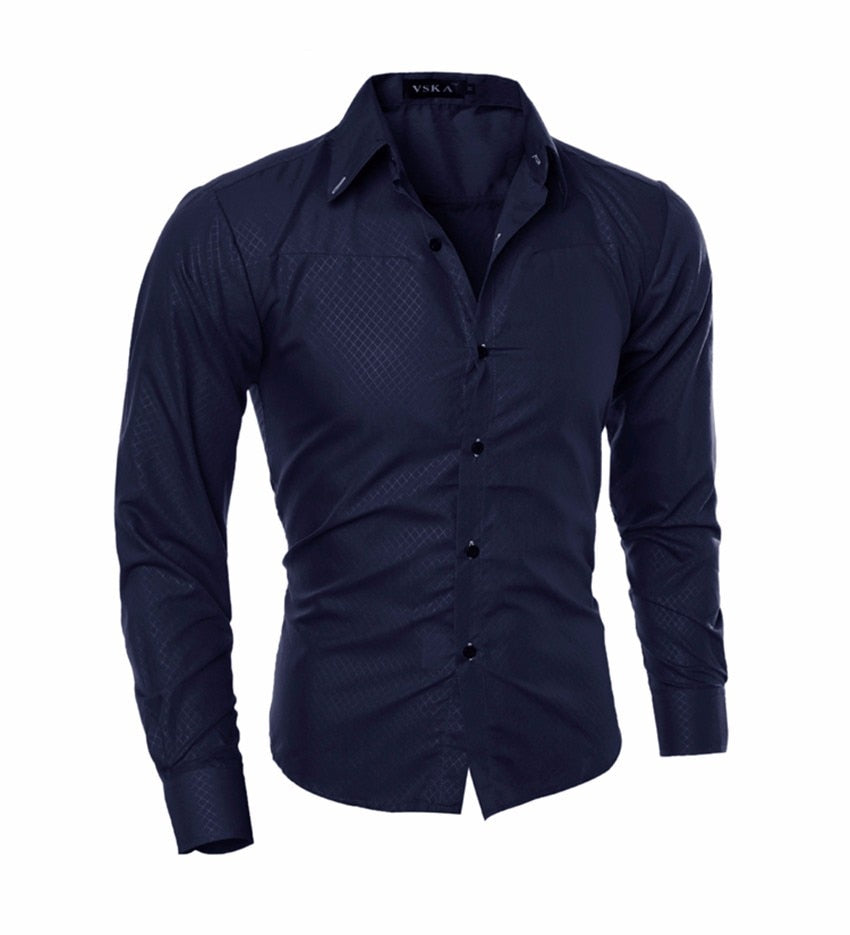 Men Social Business Tuxedo Long Sleeve Casual Shirts
