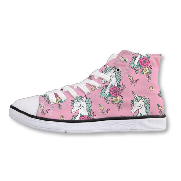 Cute Pink Unicorn Spring Lacing Sneakers
