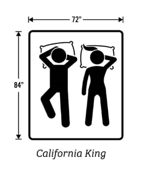 72 inches by 84 inches California King mattress