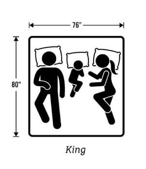 76 inches by 80 inches King mattress