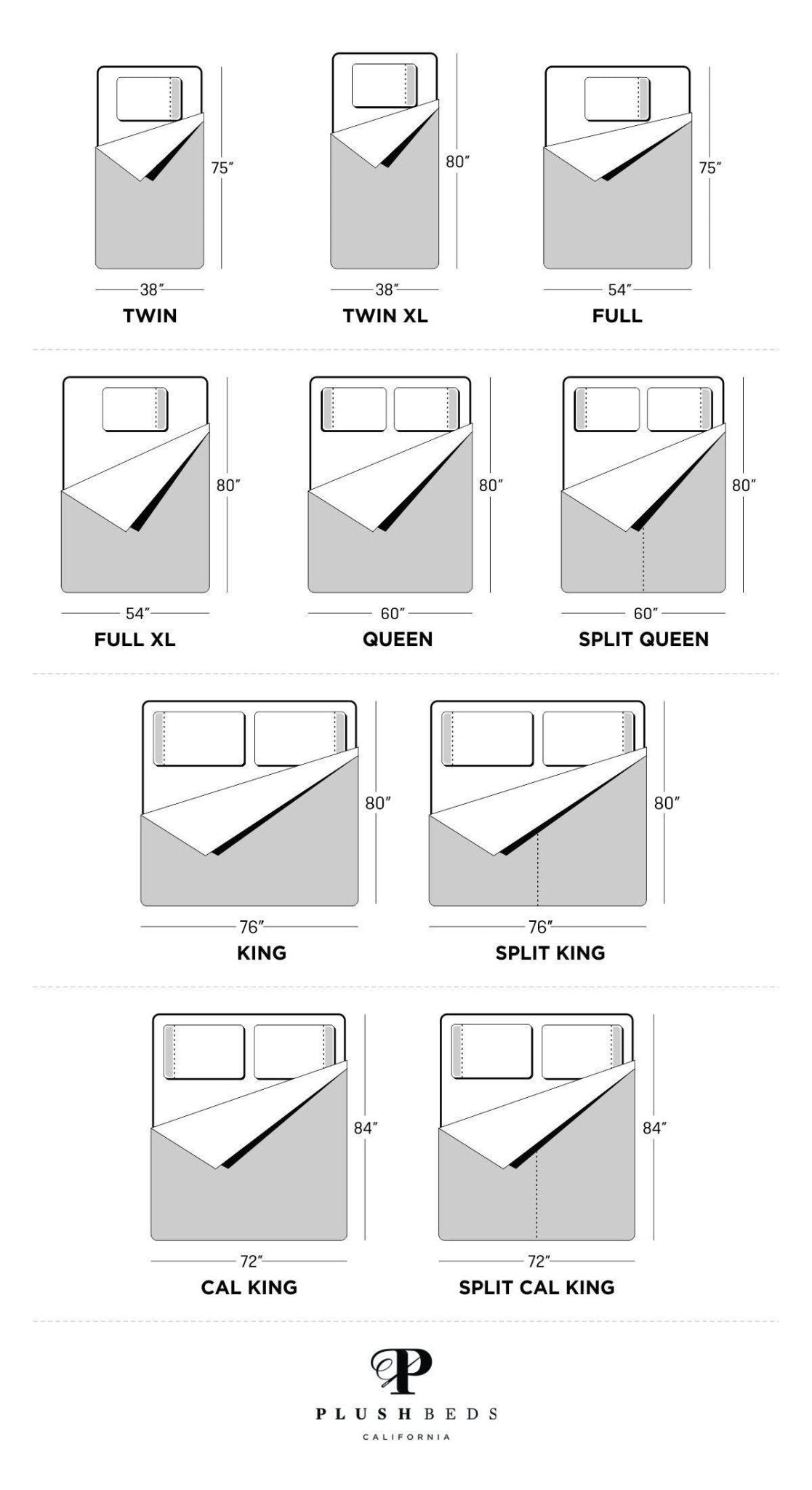 adjustable bed size chart