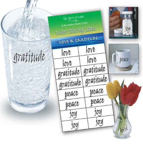Water Blessing Labels: Love & Gratitude