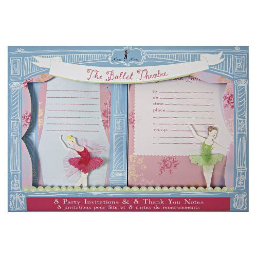 "Little Dancers Invite and Thank You Set - 8 invitations and 8 thank you cards with matching envelopes - Card size: 5"" x 7"""