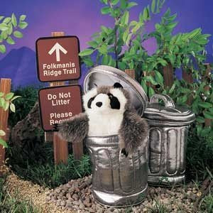 Raccoon in Garbage Can, Hand Puppets
