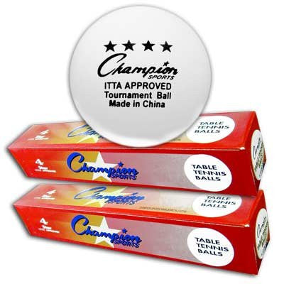 "Table Tennis Balls, ""CHAMPION ~ 4 STAR"" [One dozen, two boxes of six each]"