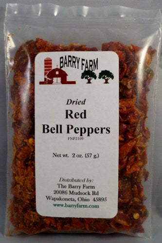 Dried Red Bell Pepper Dices, 2 oz.