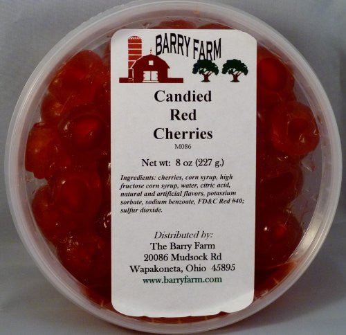 Candied Red Cherries, Whole 8 oz