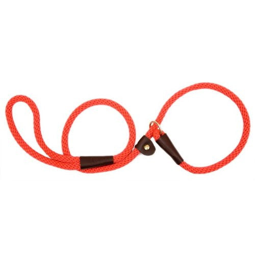 British Style Slip Leash in Red (Size: 6')