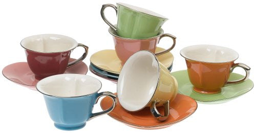 Inside Out Heart Cups & Saucers, Set of 6 (Color: Assorted/Platinum Size: 5 Oz.)