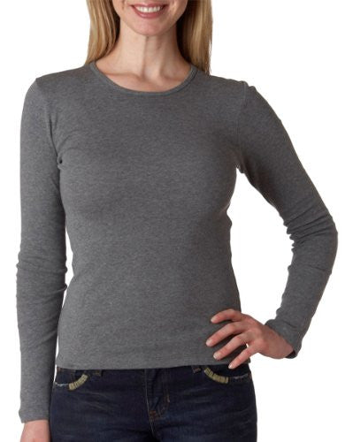 Women's Baby Rib Long Sleeve Crew Neck Tee - 5001 - (Deep Heather - L)