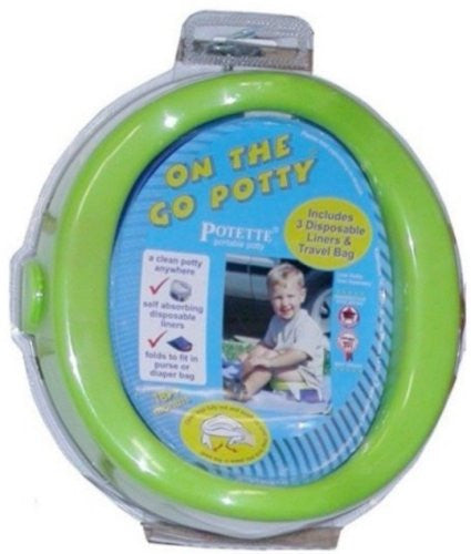"STYLE 1730 - ON THE GO POTTY - Green - Open: 8.25""L x 8.75""W x 4.50""           Flat: 8.25""L x 8.75""W x 1.875""H"