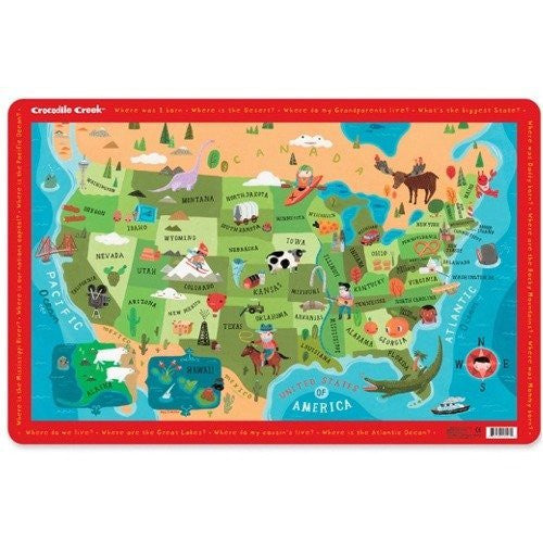 Crocodile Creek Placemat - USA Map