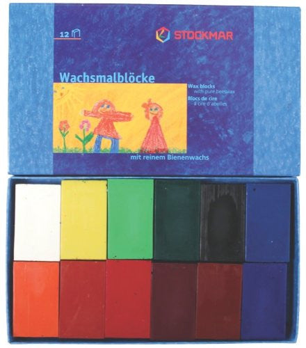 Stockmar Beeswax Crayons, Set of 12 Blocks in Carton