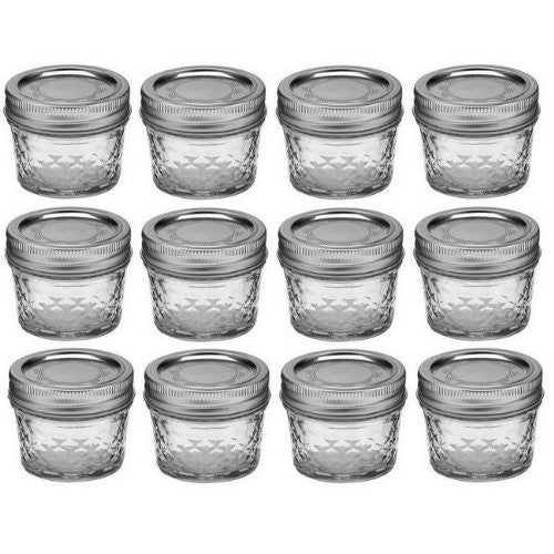 4-oz. Quilted Crystal Jelly Jars, Set of 12