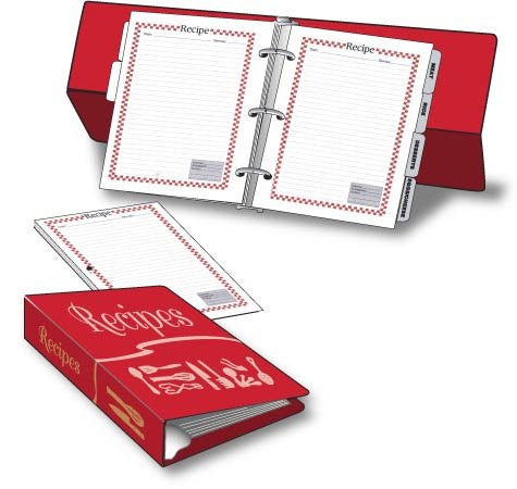 Red Vinyl Recipe Book & Pages