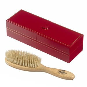 Kent LHS5 Handmade Oval, Satin Wood, White Bristle Hairbrush