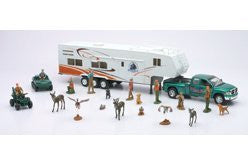 NewRay Toys Theme Set: Dodge 5th Wheel, Wild Hunting Fishing Playset, Ford-350 Fifth Wheel Pickup Truck, Trailer, ATV